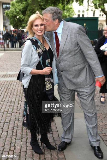 Stephen Fry greets Joanna Lumley at a memorial service for comedian Ronnie Corbett at Westminster Abbey on June 7 2017 in London England Corbett died...