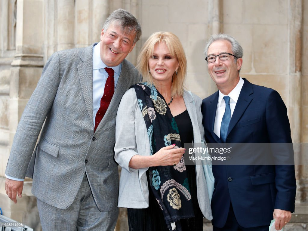 Stephen Fry, Joanna Lumley and Ben Elton attend a Service of Thanksgiving for the Life and Work of comedian Ronnie Corbett at Westminster Abbey on June 7, 2017 in London, England. Ronnie Corbett died in March 2016 aged 85.