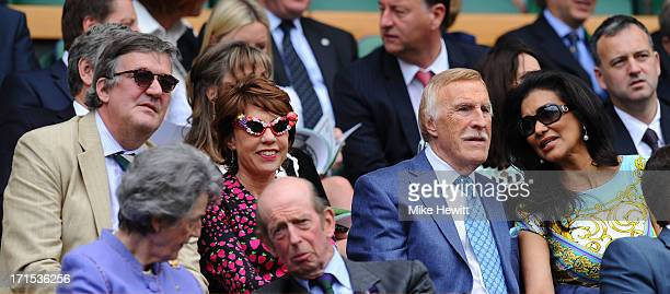 Stephen Fry Kathy Lette Sir Bruce Forsyth Wilnelia Forsyth Lady Susan Hussey and Prince Edward Duke of Kent attend the Ladies' Singles second round...