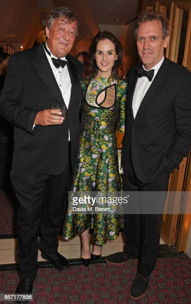 Stephen Fry Michelle Dockery and Hugh Laurie attend the BFI and IWC Luminous Gala at The Guildhall on October 3 2017 in London England
