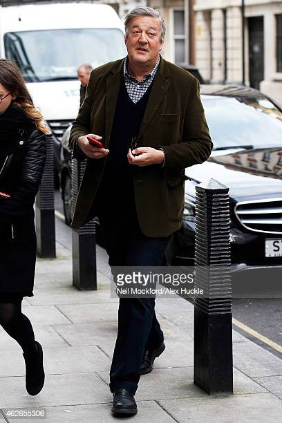 Stephen Fry seen arriving at BBC Broadcasting House Portland Place on February 2 2015 in London England