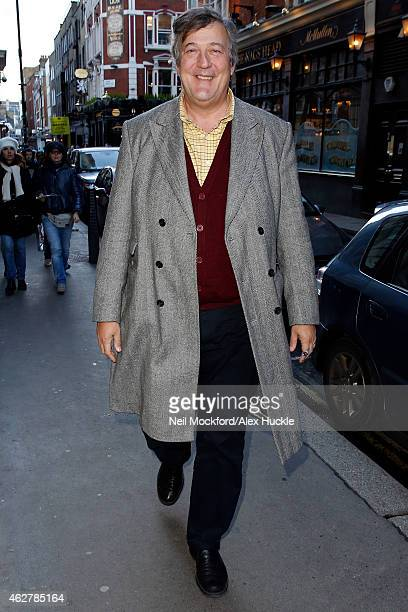 Stephen Fry seen arriving at The Royal Opera House for a BAFTA rehearsal on February 5 2015 in London England