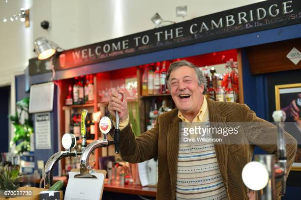 Stephen Fry talks about Mental Health at The Cambridge Union on April 25 2017 in Cambridge Cambridgeshire