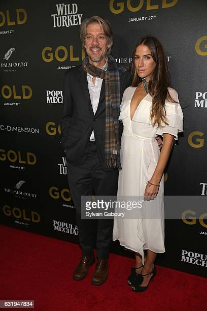 Stephen Gaghan and Minnie Mortimer attend TWCDimension with Popular Mechanics The Palm Court Wild Turkey Bourbon Host the Premiere of Gold at AMC...