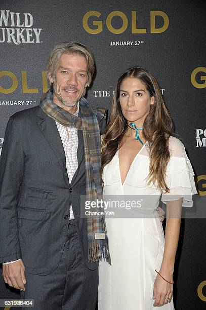 Stephen Gaghan and Minnie Mortimer Gaghan attends the world premiere of Gold hosted by TWCDimension at AMC Loews Lincoln Square 13 theater on January...