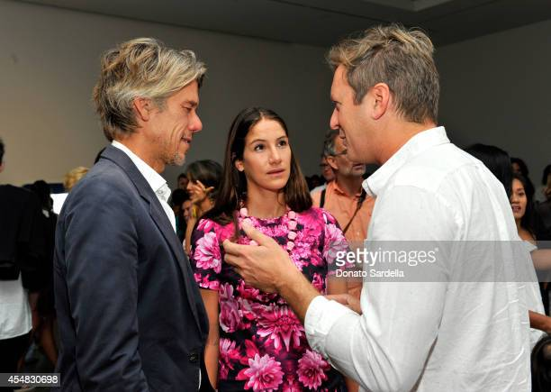 Stephen Gaghan fashion designer Minnie Mortimer and artist Doug Aitken attend the Doug Aitken Still Life Opening Reception and Dinner at Regen...