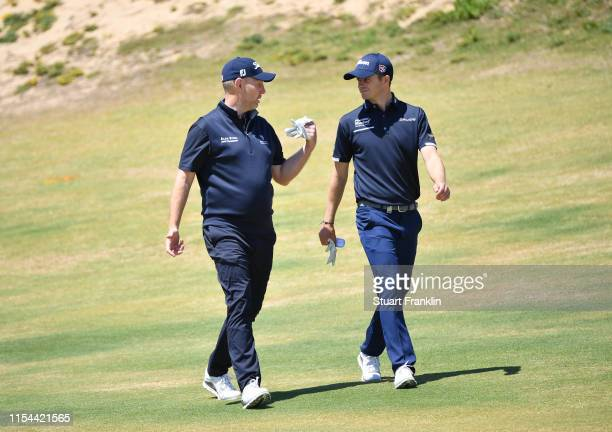 Stephen Gallacher and David Law of Scotland walk together during Day One of the GolfSixes at Oitavos Dunes on June 07, 2019 in Cascais, Portugal.