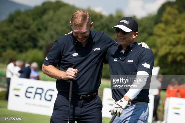 Stephen Gallacher and Gianluca Vialli attend ProAm Fondazione Vialli Mauro Golf Cup at Royal Park Golf Country Club on September 02 2019 in Turin...