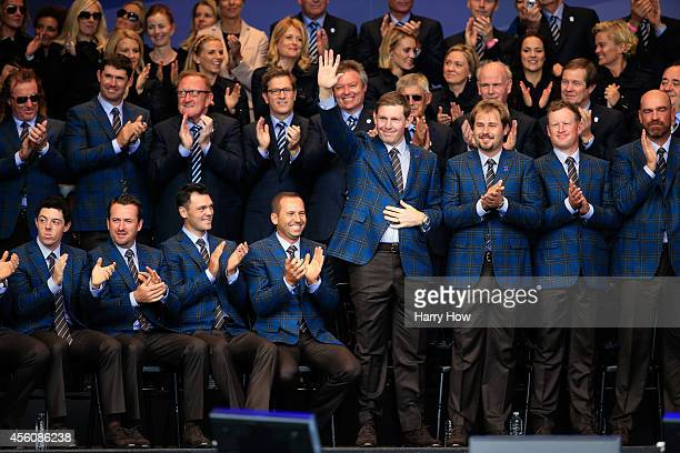 Stephen Gallacher of Europe acknowledges the crowd during the Opening Ceremony ahead of the 40th Ryder Cup at Gleneagles on September 25, 2014 in...