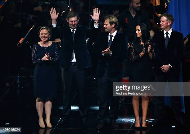 Stephen Gallacher of Europe acknowledges the crowd with wife Helen Gallacher Victor Dubuisson of Europe Jamie Donaldson of Europe and partner Kathryn...