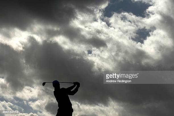 Stephen Gallacher of Europe tees off during the Morning Fourballs of the 2014 Ryder Cup on the PGA Centenary course at the Gleneagles Hotel on...