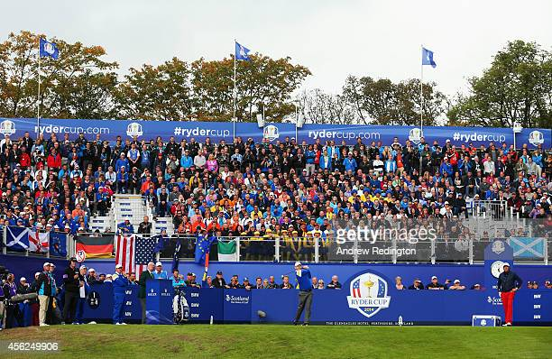 Stephen Gallacher of Europe tees off on the 1st hole during the Singles Matches of the 2014 Ryder Cup on the PGA Centenary course at the Gleneagles...