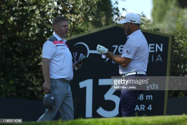 Stephen Gallacher of Scotland and Lee Westwood of England talk during Day Three of the Italian Open at Olgiata Golf Club on October 12 2019 in Rome...