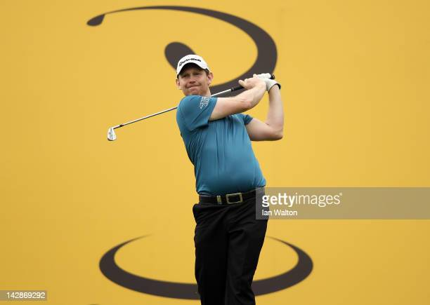 Stephen Gallacher of Scotland hits a shot during the 3rd round of the Maybank Malaysian Open at Kuala Lumpur Golf & Country Club on April 14, 2012 in...