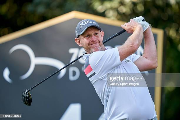 Stephen Gallacher of Scotland in action during Day three of the Italian Open at Olgiata Golf Club on October 12 2019 in Rome Italy