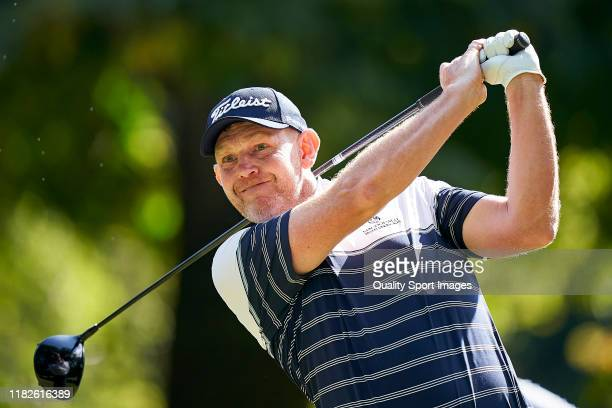 Stephen Gallacher of Scotland in action during Day two of the Italian Open at Olgiata Golf Club on October 11 2019 in Rome Italy