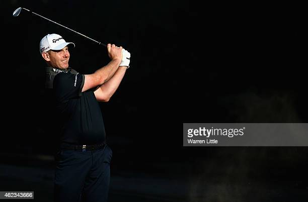 Stephen Gallacher of Scotland in action during the Challenge Match ahead of the Omega Dubai Desert Classic on the Majlis Course at the Emirates Golf...