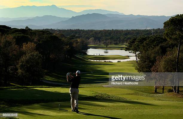 Stephen Gallacher of Scotland in action during the fifth round of the European Tour Qualifying School Final Stage at the PGA Golf de Catalunya golf...