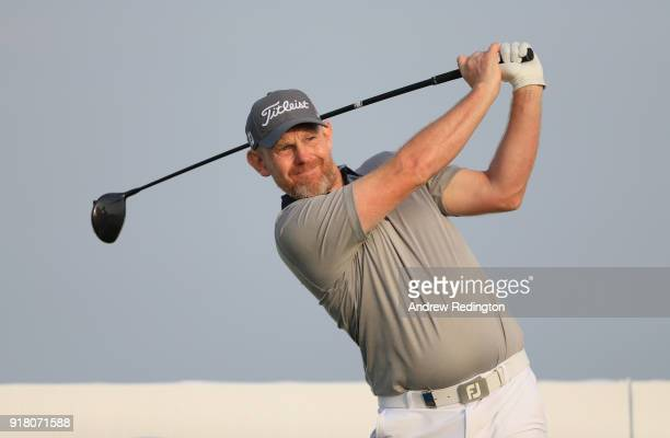 Stephen Gallacher of Scotland in action during the Pro Am prior to the start of the NBO Oman Open at Al Mouj Golf on February 14 2018 in Muscat Oman