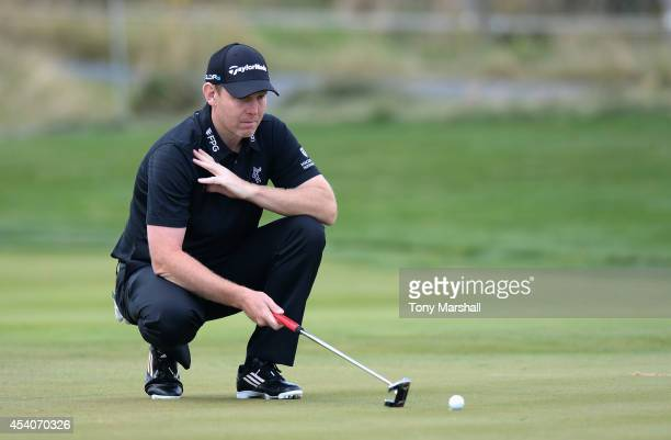 Stephen Gallacher of Scotland lines up his putt on the 5th green during day four of DD REAL Czech Masters at Albatross Golf Resort on August 24 2014...