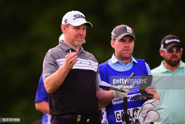 Stephen Gallacher of Scotland on the 6th tee during the Porsche European Open Day Two at Green Eagle Golf Course on July 28 2017 in Hamburg Germany