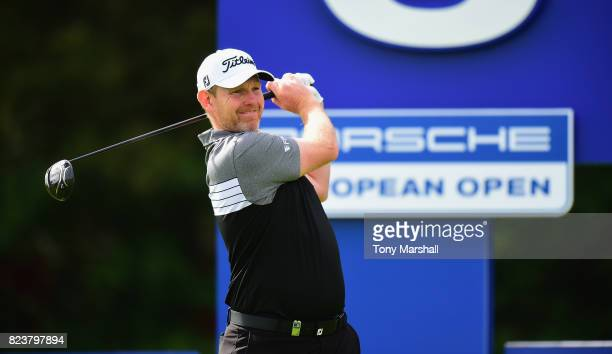 Stephen Gallacher of Scotland plays a provisional shot on the 6th tee during the Porsche European Open Day Two at Green Eagle Golf Course on July 28...