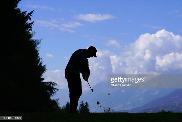 Stephen Gallacher of Scotland plays a shot during the second round of the Omega European Masters at Crans-sur-Sierre Golf Club on September 7, 2018...