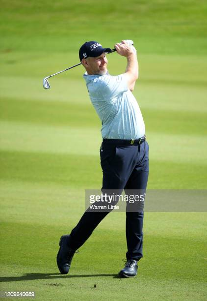 Stephen Gallacher of Scotland plays his 2nd shot on the 16th during Day Four of the Oman Open at Al Mouj Golf Complex on March 01 2020 in Muscat Oman