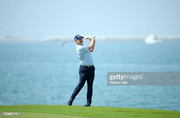 Stephen Gallacher of Scotland plays his 2nd shot on the 9th during Day Four of the Oman Open at Al Mouj Golf Complex on March 01 2020 in Muscat Oman