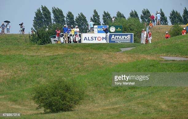 Stephen Gallacher of Scotland plays his first shot on the 12th fairway during the Alstom Open de France Day Two at Le Golf National on July 3 2015 in...