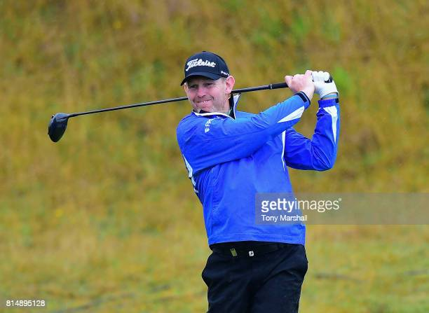 Stephen Gallacher of Scotland plays his first shot on the 2nd tee during Day Three of the AAM Scottish Open at Dundonald Links Golf Course on July 15...