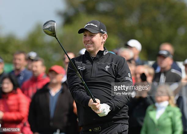 Stephen Gallacher of Scotland plays his first shot on the 5th tee during day four of DD REAL Czech Masters at Albatross Golf Resort on August 24 2014...