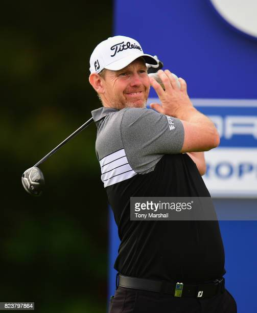 Stephen Gallacher of Scotland plays his first shot on the 6th tee during the Porsche European Open Day Two at Green Eagle Golf Course on July 28 2017...