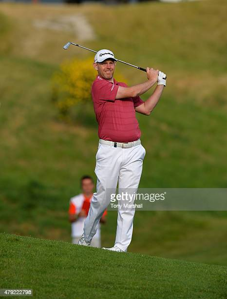 Stephen Gallacher of Scotland plays his second shot on the 10th fairway during Alstom Open de France Day One at Le Golf National on July 2 2015 in...