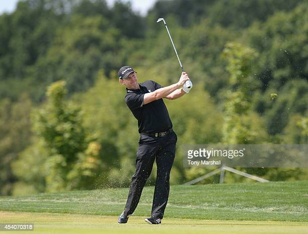 Stephen Gallacher of Scotland plays his second shot on the 5th fairway during day four of DD REAL Czech Masters at Albatross Golf Resort on August 24...