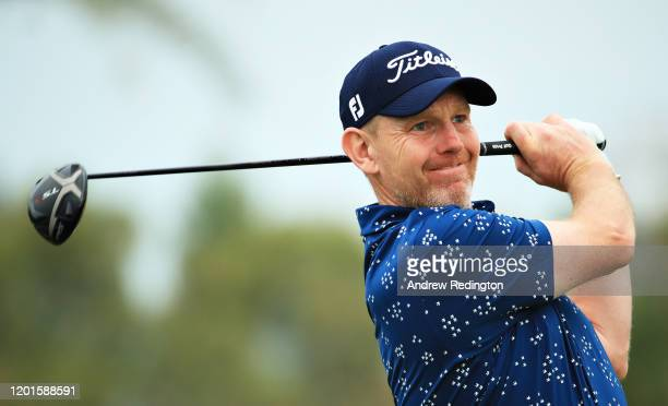Stephen Gallacher of Scotland plays his shot from the thirteenth tee during Day Two of the Omega Dubai Desert Classic at Emirates Golf Club on...