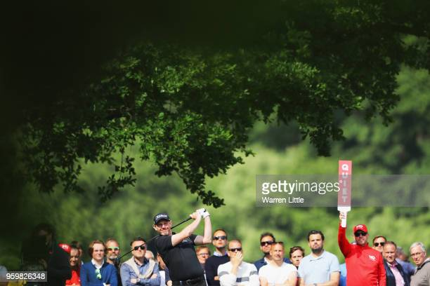 Stephen Gallacher of Scotland plays his shot off the 16th tee during the second round of the Belgian Knockout at at the Rinkven International Golf...