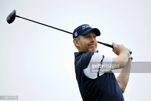 Stephen Gallacher of Scotland plays his shot on the 18th tee during Day Two of the Scandinavian Invitation at The Hills and Sports Club on August 23...