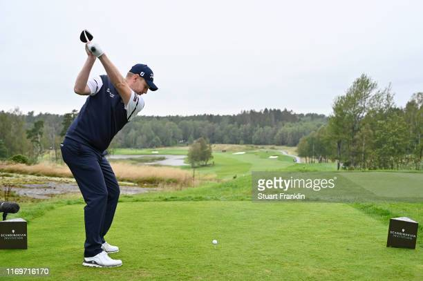 Stephen Gallacher of Scotland plays his shot on the 3rd tee during Day Two of the Scandinavian Invitation at The Hills and Sports Club on August 23...