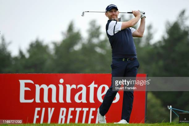 Stephen Gallacher of Scotland plays his shot on the 6th tee during Day Two of the Scandinavian Invitation at The Hills and Sports Club on August 23...