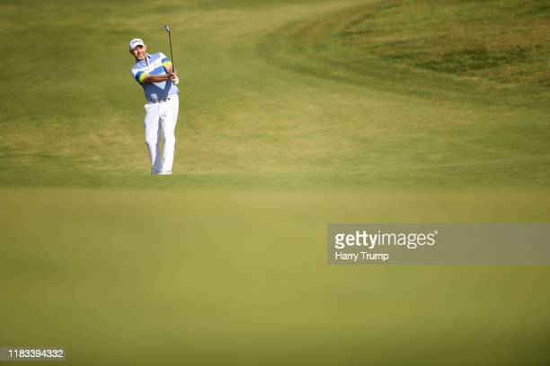Stephen Gallacher of Scotland plays their second shot on the 10th hole during Day two of the Portugal Masters at Dom Pedro Victoria Golf Course on...
