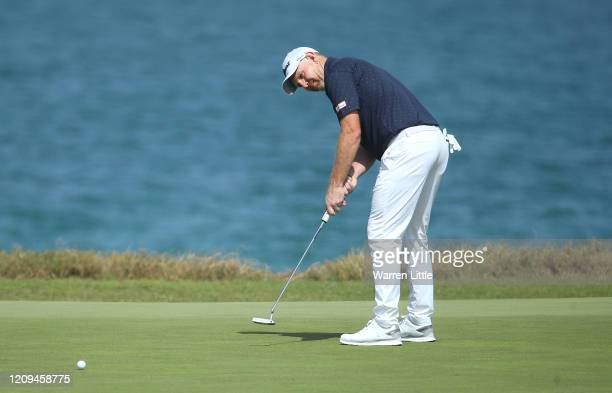 Stephen Gallacher of Scotland putts on the ninth green during the third round of the Oman Open at Al Mouj Golf on February 29 2020 in Muscat Oman