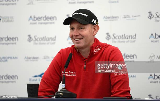 Stephen Gallacher of Scotland speaks at the press conference during the Aberdeen Asset Management Paul Lawrie Matchplay ProAm at Archerfield Links...