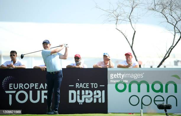 Stephen Gallacher of Scotland tees off from the 1st during Day Four of the Oman Open at Al Mouj Golf Complex on March 01 2020 in Muscat Oman