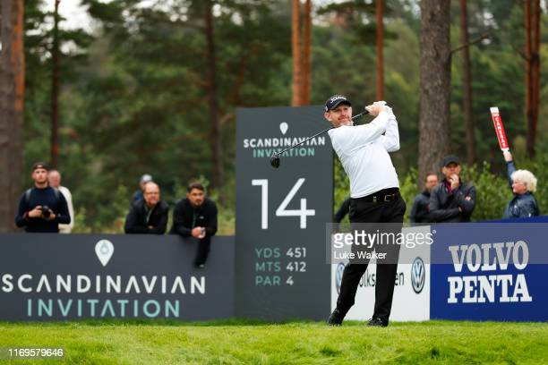 Stephen Gallacher of Scotland tees off on the 14th hole during day one of the Scandinavian Invitation at The Hills Golf and Sports Club on August 22...