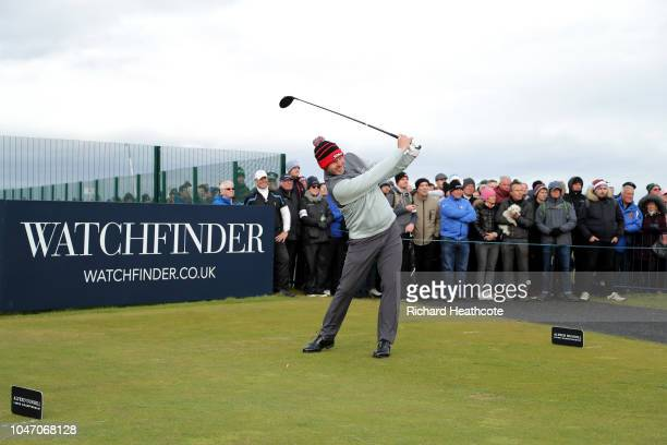 Stephen Gallacher of Scotland tees off on the 17h during day four of the 2018 Alfred Dunhill Links Championship at The Old Course on October 7, 2018...