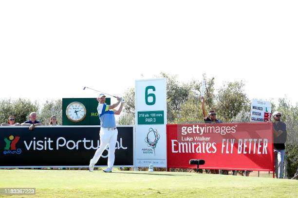 Stephen Gallacher of Scotland tees off on the 6th during Day two of the Portugal Masters at Dom Pedro Victoria Golf Course on October 25 2019 in...