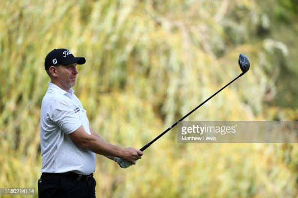 Stephen Gallacher of Scotland tees off on the 8th hole during Day One of the Italian Open at Olgiata Golf Club on October 10 2019 in Rome Italy