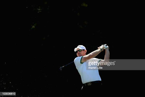 Stephen Gallacher of Scotland tees off on the fifth hole during the final round of the Czech Open 2010 at Prosper Golf Resort on August 22, 2010 in...