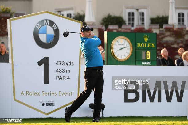 Stephen Gallacher of Scotland tees off the 1st hole during Day One of the BMW PGA Championship at Wentworth Golf Club on September 19 2019 in...